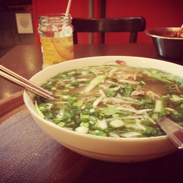 Insanely tasty Pho. Get the classic Pho Bo Tai, add some chilly and you're good to go!