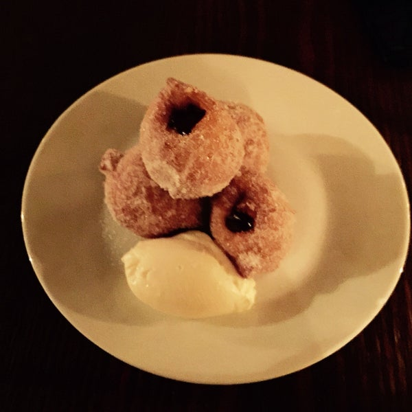 Awesome dessert! Zeppole, Nutella Mascarpone, ginger Sugar!