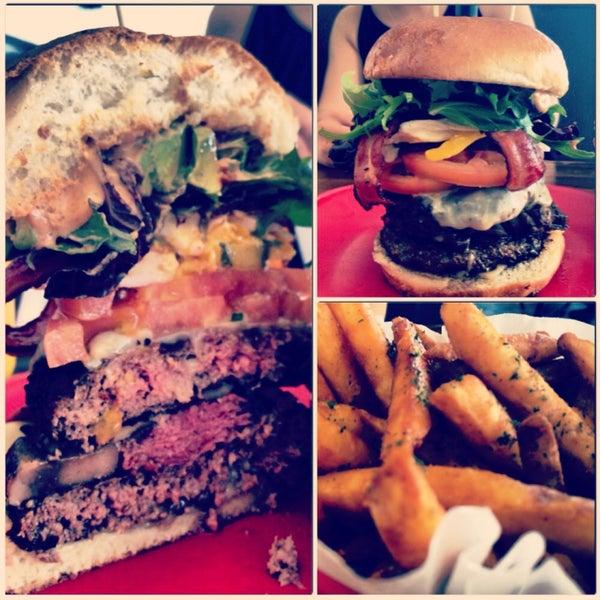 Ain't nuttin' but a G Burger, baybeh! #doublecheeseburger #pastrami #bacon #avocado  #portobellomushrooms #jumboegg #redpeppers #glazedonion seasoned fries #chipotledip #lahabra #gangsta