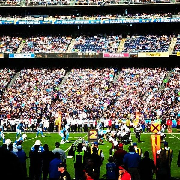 Photo taken at Qualcomm Stadium by Rachel R. on 11/26/2012