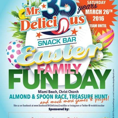 Visit MrDeliciousBar on Easter Sat 26th March 2016 for the Annual Family Funday & Special 35th Anniversary Celebrations