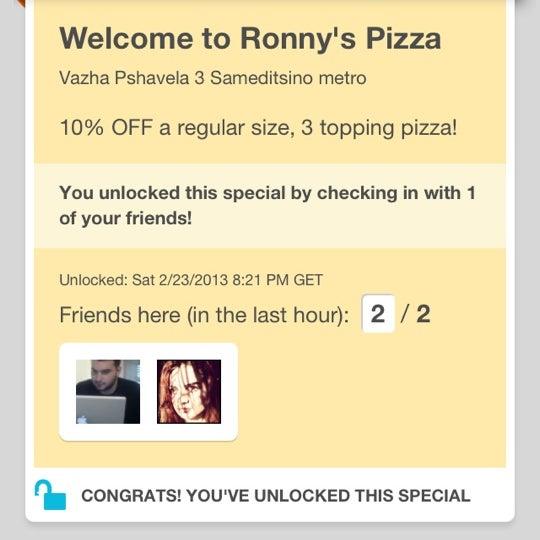Photo taken at Ronny's Pizza Saburtalo | რონის პიცა საბურთალო by Irinka 🎯 A. on 2/23/2013