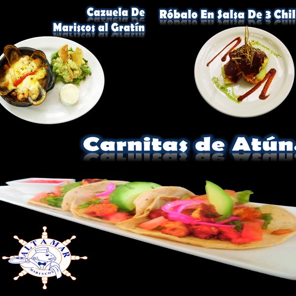 Estas son las nuevas sugerencias en Mariscos Altamar, haz check in y recibe 15% en cualquiera de nuestros 3 nuevos platillos