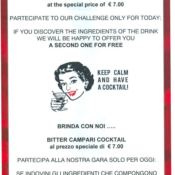 To all our friends...come to Dei Mellini bar and join our challenge,only for today!A tutti i nostri amici ..venite a bere un drink al nostro bar e partecipate alla nostra speciale gara, solo per oggi!