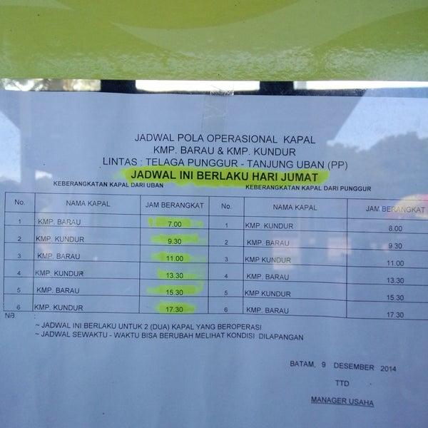 Jadwal kapal Roro Tg Punggur - Tg Uban tahun 2014