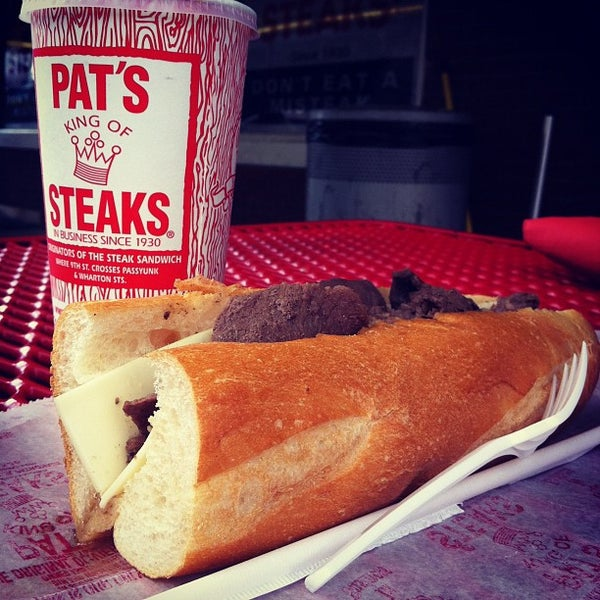 Photo taken at Pat's King of Steaks by christian b. on 8/18/2012