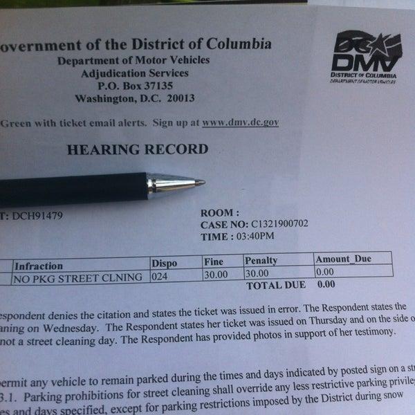 How do you pay a Washington, D.C., DMV ticket?
