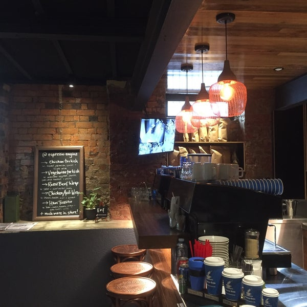 Merlo coffee Brisbane made! Cool basement with fresh paint and decor