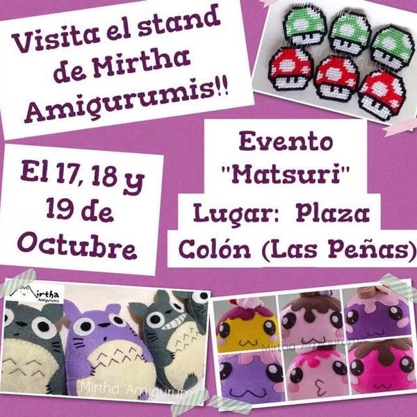 Visita el stand de Mirtha Amigurumis en Plaza Colón (las peñas) encuentra Amigurumis y plushies de personajes anime y video juegos.   www.facebook.com/MirthaAmigurumis