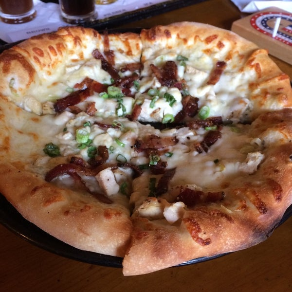 The Dopplebock (seasonal) goes great with the Chicken Gorgonzola Pizza!