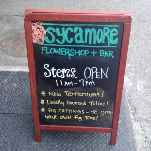 Das Foto wurde bei Sycamore Flower Shop + Bar von Meg N. am 3/2/2013 aufgenommen