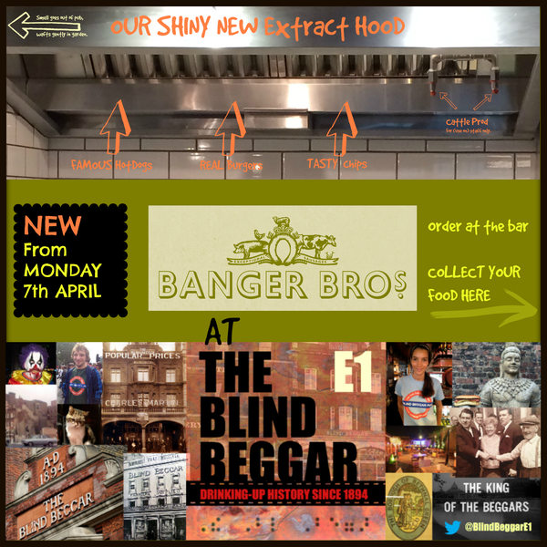 """Banger Bros """"Famous HotDogs & Real Burgers"""" are now being served from our new kitchen. Order at the bar, collect at the kitchen (at the end of the bar). From 11am everyday."""