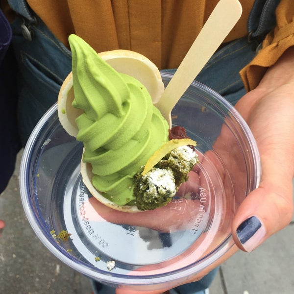 Matcha Monaka, matcha ice cream in delicate biscuits with a tiny lump of adzuki beans