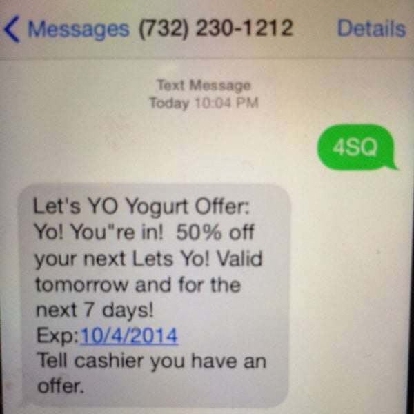 """Secret 50% off! Send a text message to the number with """"4SQ"""" -- Offer good for upto a week!"""