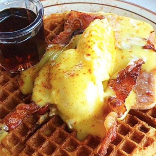 In 1959, Harry Rudolph moved to California and opened this blue-collar joint, known for its straightforward all-day breakfast menu. If you've never had eggs Benedict on a waffle, now's your chance.