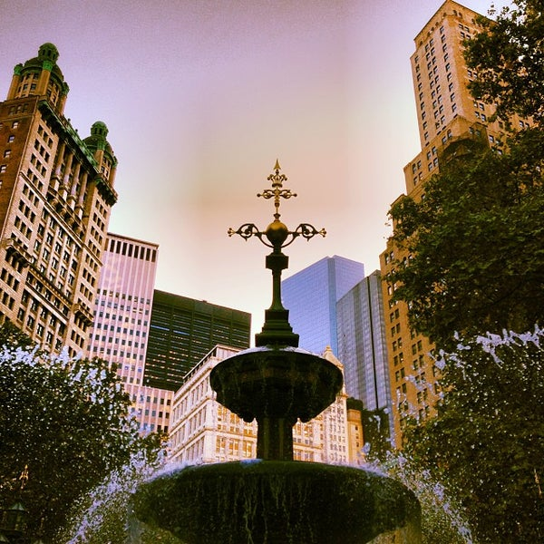 Photo taken at City Hall Park by Luke W. on 10/2/2013