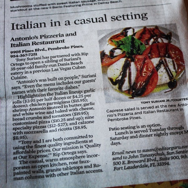 Antonios italian restaurant in pembroke pines for Antonios italian cuisine