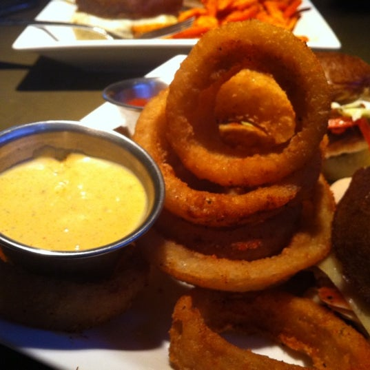 Onion rings + sweet potato aioli sauce will make you reconsider your life's ambitions.