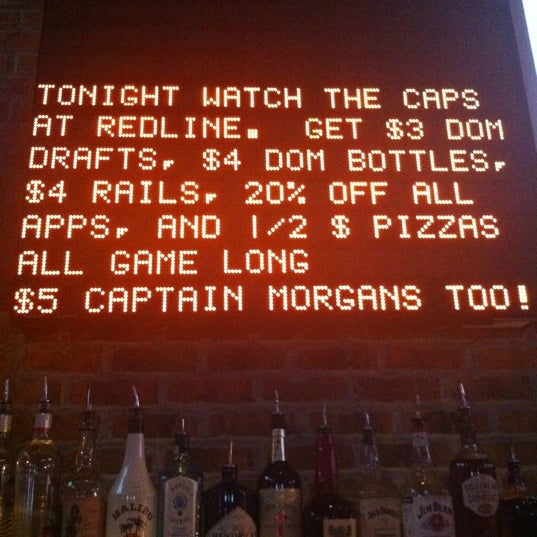 Come before, during or after... ALL DAY LONG of any Caps game (home or away) and get $3 Domestic Draft Beer | $4 Domestic Bottle Beer | $4 Rails | 20% Off All Appetizers | 1/2 Price Pizzas. Go Caps!!!