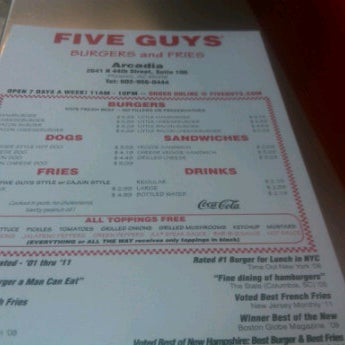 Photo taken at Five Guys by Karl W. on 2/18/2012