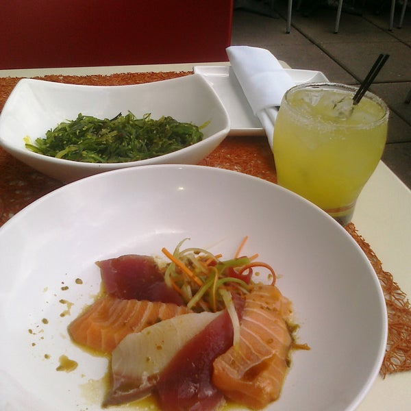 The ceviche, the seaweed salad, the fresh ginger & pineapple vodka drink, & the view of the NYC skyline!