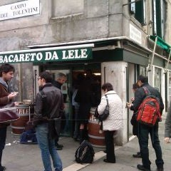 """Bacareto da Lele is """"perfetto"""" for a quick sandwich and glass of wine; very inexpensive and wonderfully fresh! Sandwiches are less than 1 euro...find it at Campo Dei Tolentini in Santa Croce."""