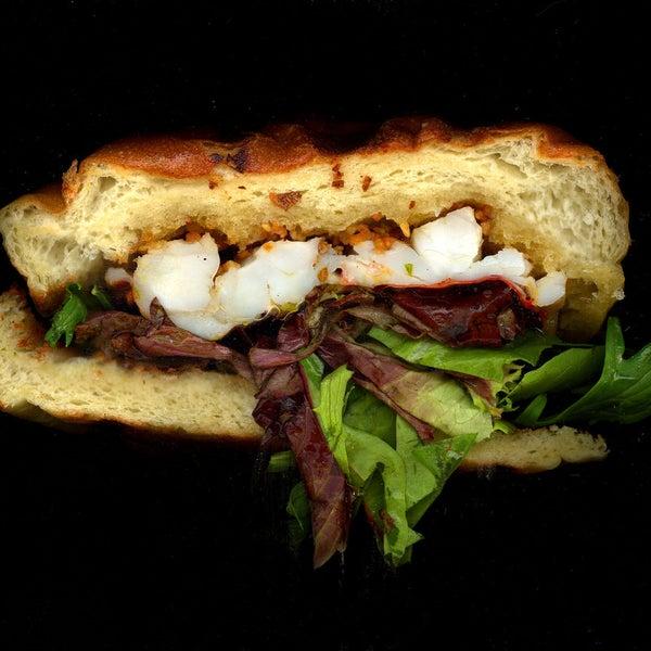 Lobster, Lettuce, On Buttered Garlic Bread.