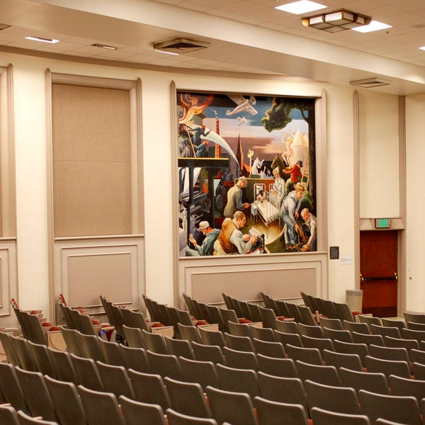 Woodburn room 100 contains 2 panels of Thomas Hart Benton's Indiana Murals. An educational display about the importance (and controversy) of the murals can be found outside the room. Check it out!