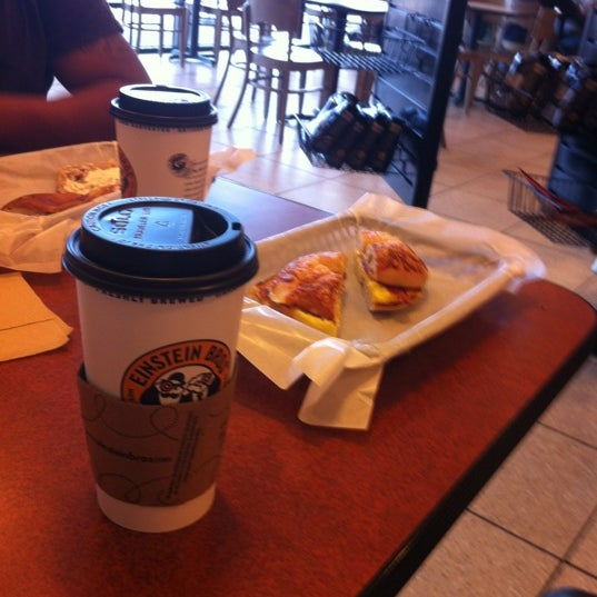 Photo taken at Einstein Bros Bagels by Cesar G. on 3/29/2012