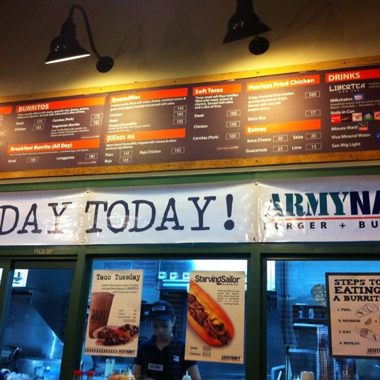 Photo taken at Army Navy Burger + Burrito by Da A. on 5/1/2012