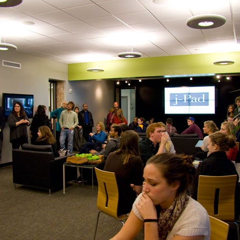 Johnston Hall's posh new student lounge has big plasma screens, couches and even a kitchenette.