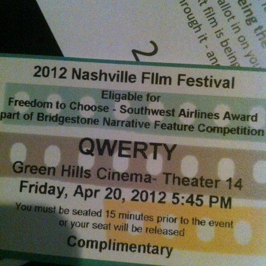 Photo taken at Regal Cinemas Green Hills 16 by Becky D. on 4/20/2012
