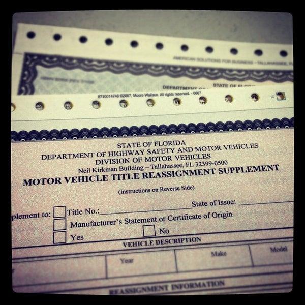 Florida department of motor vehicles titles for Florida department of motor
