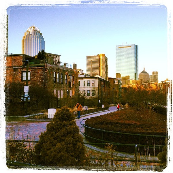 Photo taken at SW Corridor Park - Back Bay by Lynne B. on 3/6/2012