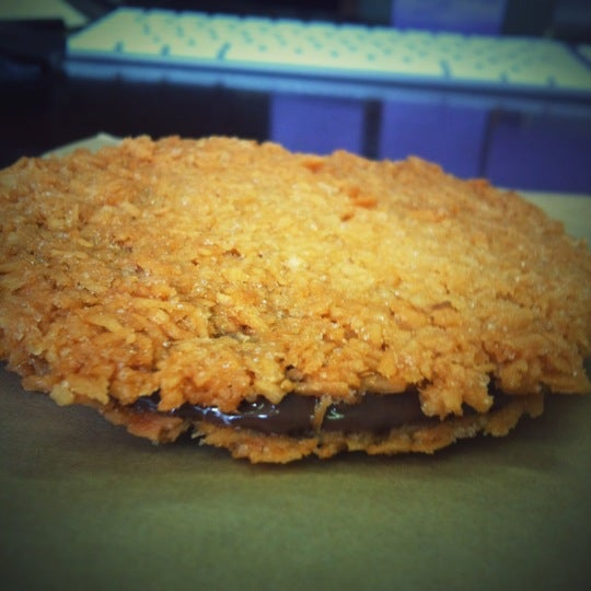 Macarella---coconut macaroon with gooey Nutella insides. So much delicious.