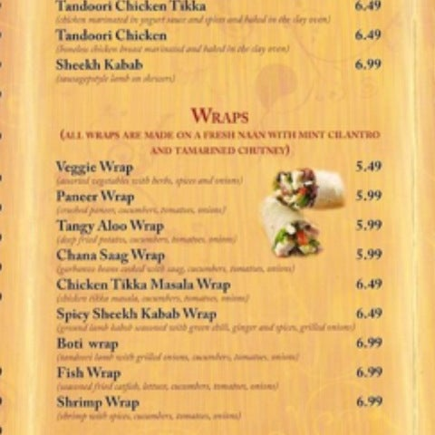 New India Chaat Cafe Menu