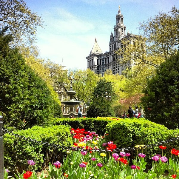 Photo taken at City Hall Park by Juston P. on 4/14/2012