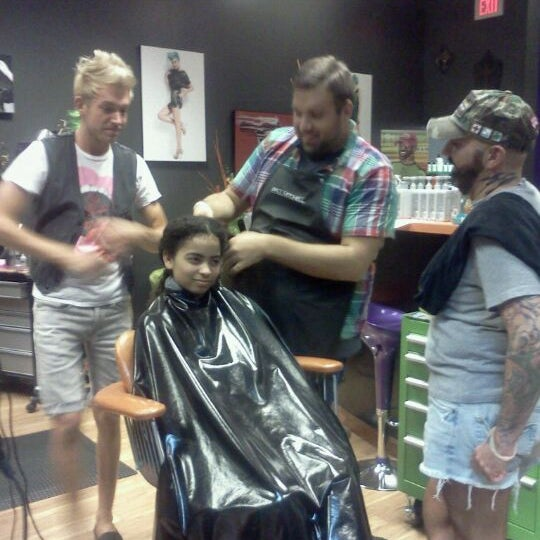 Photo taken at Hail The Hair King Salon & Spa by Vikki B. on 4/18/2012