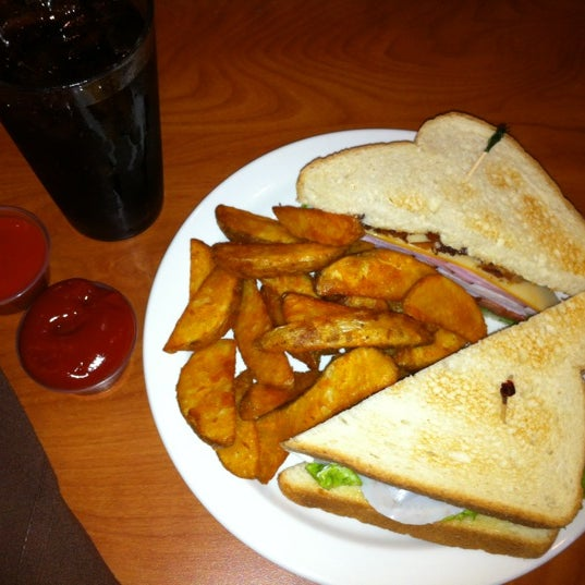 Try the club sandwich with a side of hot wing sauce