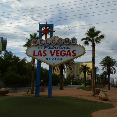 Photo taken at Welcome To Fabulous Las Vegas Sign by Benjamin B. on 7/31/2012