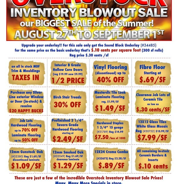 Check Out Our Overstock Inventory Blowout Sale Flyer
