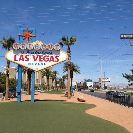 Photo taken at Welcome To Fabulous Las Vegas Sign by Josh E. on 4/17/2012