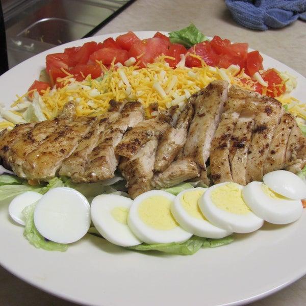 Grilled chicken salad is good.