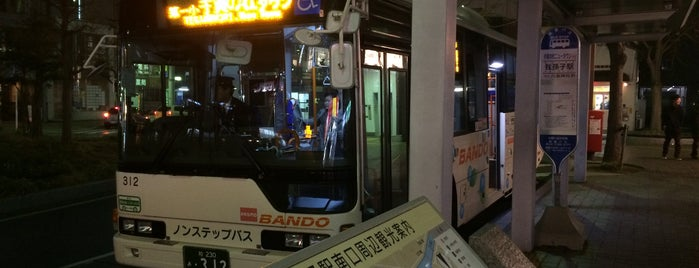 Abiko-sta. Bus terminal is one of Chiba 千葉.