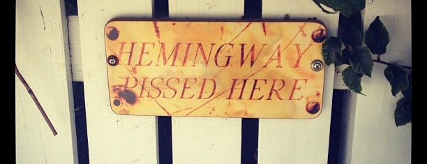 Hemingway Pissed Here sign is one of Key West, FL.
