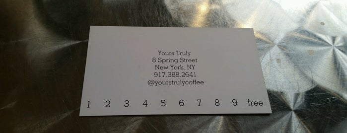 Yours Truly is one of New York's Best Coffee Shops - Manhattan.