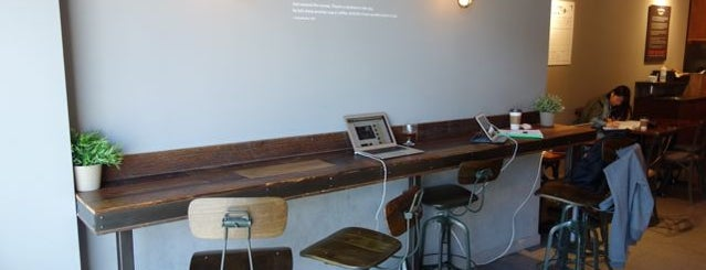 NYC Best Cafes To Work At Standing Up - Standing cafe table