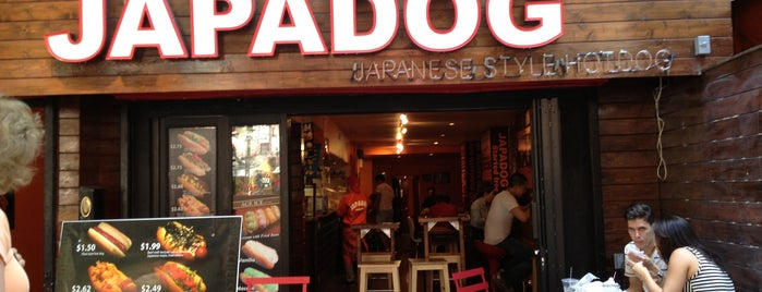 Japadog is one of East village restaurants.