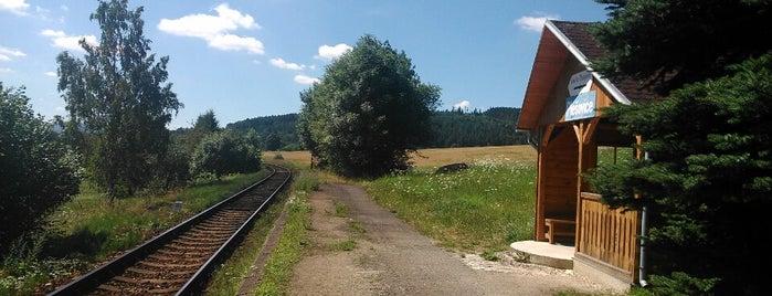 Železniční zastávka Plešovice is one of Železniční stanice ČR: P (9/14).