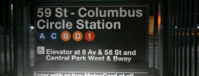 """MTA Subway - 59th St/Columbus Circle (A/B/C/D/1) is one of """"Be Robin Hood #121212 Concert"""" @ New York!."""